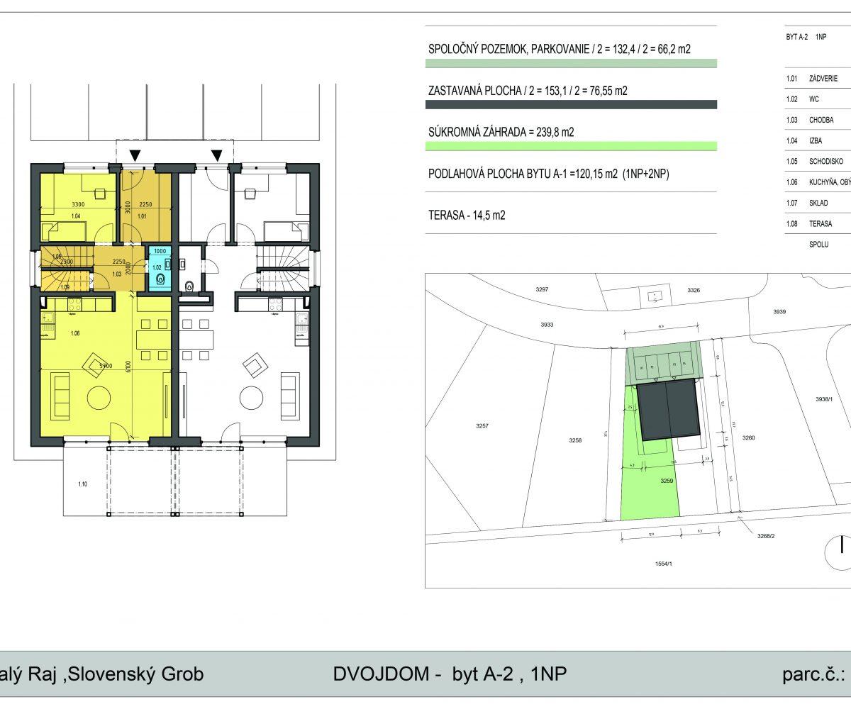Novostavba 5 - izbového bytu 134,65 m2, pozemok 383 m2, parkovacie státie 2x, 178.800 EUR!!